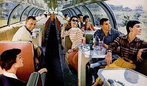El Capitan (train) - Image: Santa Fe big dome observation car 1954