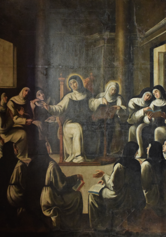 Paula of Rome - Saint Paula with her nuns - 17th century. Painting of André Reinoso in Hieronymites Monastery, Lisbon, Portugal.