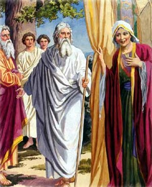Sarah and Abraham hosting three angels