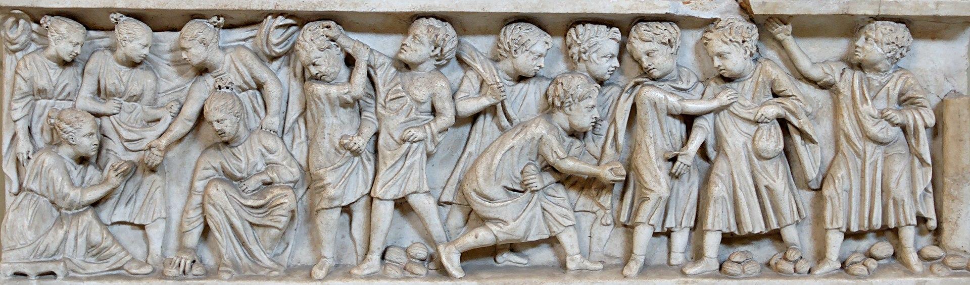 Niños jugando con nueces, panel de un sarcófago, obra romana del siglo III.