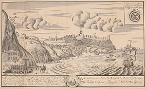 """The Spa, Scarborough - Eighteenth century of Scarborough, showing the """"spaws"""" in the left foreground"""