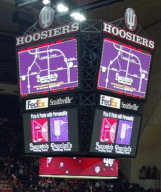 Simon Skjodt Assembly Hall - Assembly Hall score/replay board, added in 2005