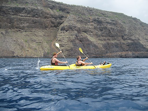 Two men paddling a tandem kayak near a cliff face in the ocean.