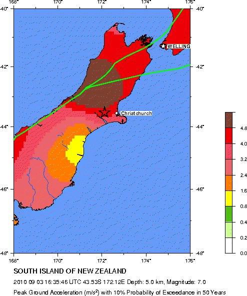 Seismic hazard map around epicentre of 2010 Canterbury earthquake