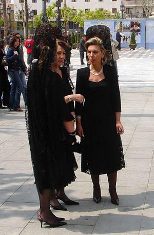 women wearing mantilla at the Semana Santa in ...