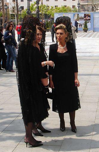 Mantilla - Spanish women wearing the mantilla during Holy Week in Seville, Spain
