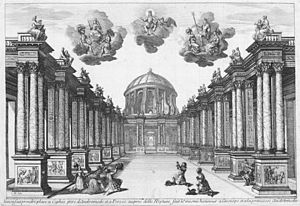 Giacomo Torelli - Torelli's set design for Act 5 of Pierre Corneille's Andromède as performed at the Petit-Bourbon in 1650