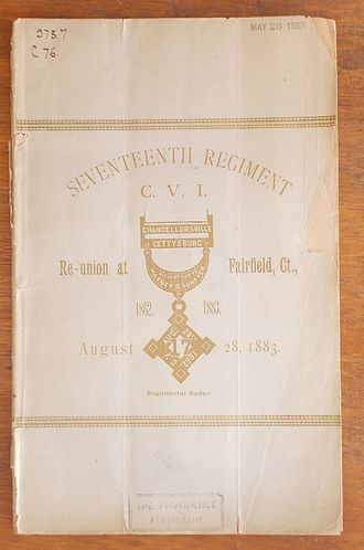 17th Connecticut Infantry Regiment - Cover photo of pamphlet re: 'The Seventeenth Annual Re-union of the 17th Connecticut Vol Regiment C.V.I. - 1883. The emblem on the cover is of the G.A.R. (Grand Army of the Republic), a medal worn by surviving members of the 17th.