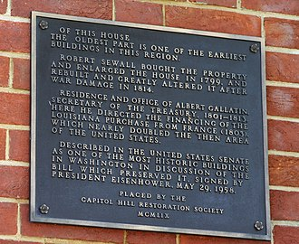 Belmont-Paul Women's Equality National Monument - Historic plaque at the Sewall-Belmont House.