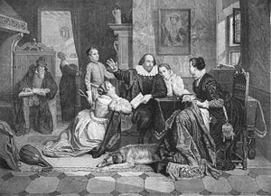 Hamnet Shakespeare - A 19th-century engraving imagining Shakespeare's family life. Hamnet stands behind Shakespeare, left of centre.