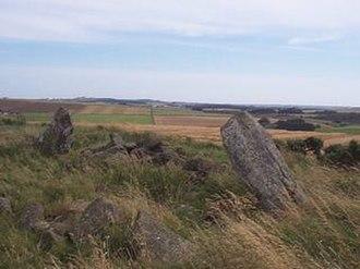 Sheldon stone circle - The Sheldon Stone Circle on the crest of the hill