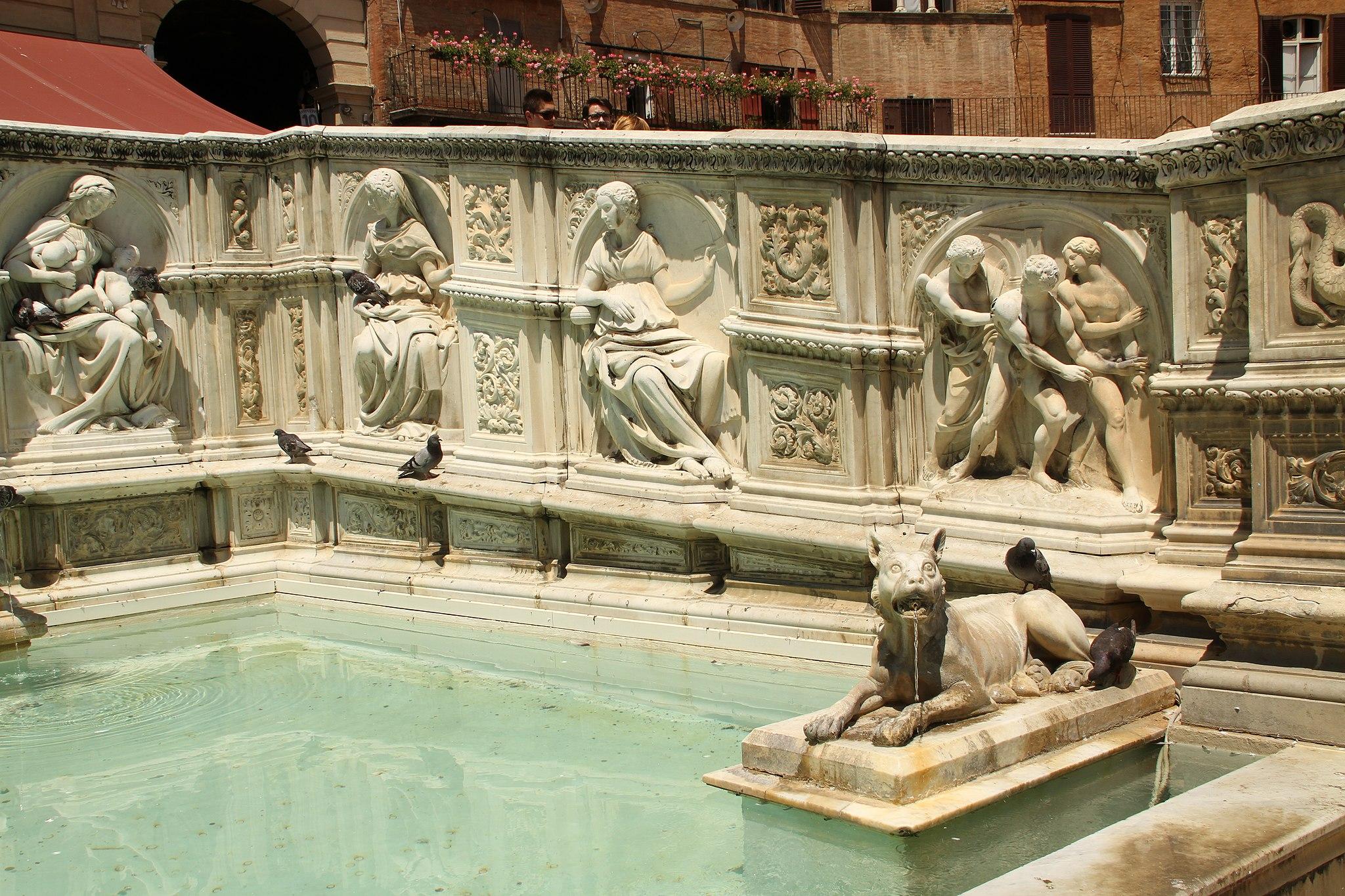 Siena, Fonte Gaia, Piazza del Campo (met rechts de Verdrijving uit de Tuin van Eden)