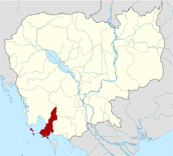 Map of Cambodia highlighting Sihanoukville Province