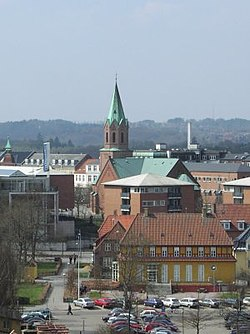 View of Silkeborg church (built 1877), looking north-west