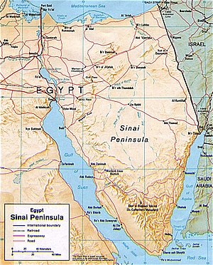 Battle of Romani - Map of the Egyptian Sinai Peninsula (Bi'r ar Rummanah is Romani and Al Qantjarah is Kantara).