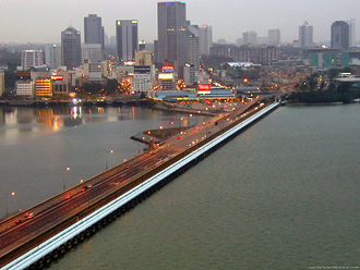 Straits of Johor - The Johor-Singapore Causeway spanning the Strait, viewed from Woodlands Checkpoint in Singapore.