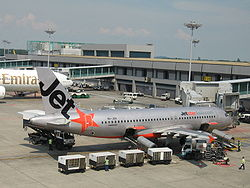 Singapore Changi Airport, Terminal 1, Jetstar Asia Airways, Dec 05.JPG