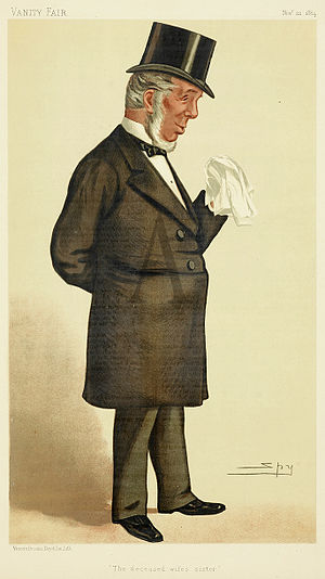 """Thomas Chambers (MP) - """"The deceased wife's sister"""" Chambers as caricatured by Spy (Leslie Ward) in Vanity Fair, November 1884"""