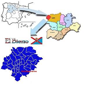 El Bierzo - Image: Situación de El Bierzo