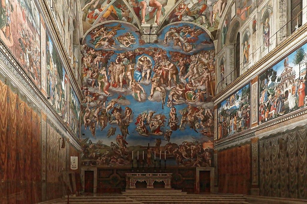 Fresque du jugement dernier par Michel Ange dans la chapelle Sixtine du Vatican à Rome.