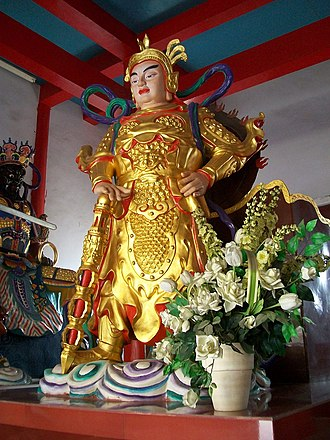 Kartikeya - Skanda Bodhisattva is the Dharma protector in Mahayana Buddhism. Above: Skanda's statue in Anhui province, China.