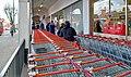 Social distancing queueing for the supermarket J. Sainsbury's north London Coronavirus Covid 19 pandemic 30 March 2020 01.jpg