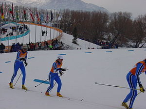 Cross-country skiing at the 2002 Winter Olympics - Athletes compete at Soldier Hollow on February 14, 2002.