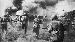 Soviet troops and T-34 tanks counterattacking Kursk Voronezh Front July 1943.jpg