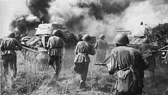 Red Army troops in a counter-offensive on German positions at the Battle of Kursk, July 1943 Soviet troops and T-34 tanks counterattacking Kursk Voronezh Front July 1943.jpg