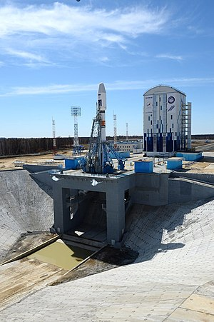 Vostochny Cosmodrome Site 1S - Image: Soyuz 2.1a launch vehicle carrying spacecraft Mikhail Lomonosov at the launch pad at Vostochny Launch Centre 2
