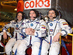 v.l.n.r.: Tracy Caldwell-Dyson, Alexander Skworzow, Michail Kornijenko