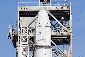 Mazaalai (satellite) - Dragon capsule, containing Mazaalai, mounted on Falcon 9 rocket.