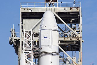 Mazaalai (satellite) - Dragon capsule, containing Mazaalai, mounted on Falcon 9 rocket.
