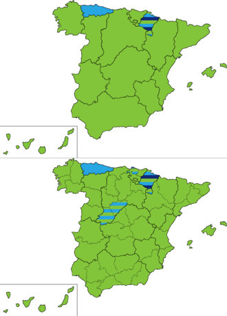 Spanish general election, 1898 - Most voted party by regions and provinces.