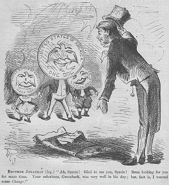 Seated Liberty dollar - A cartoon from the April 9, 1870 issue of Harper's Weekly which anticipates the resumption of government payments in precious-metal coins.