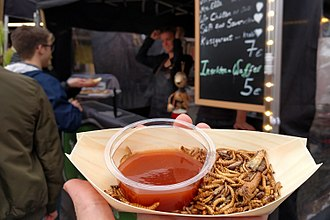 Insects as food - Whole, fried edible insects as street food in Germany