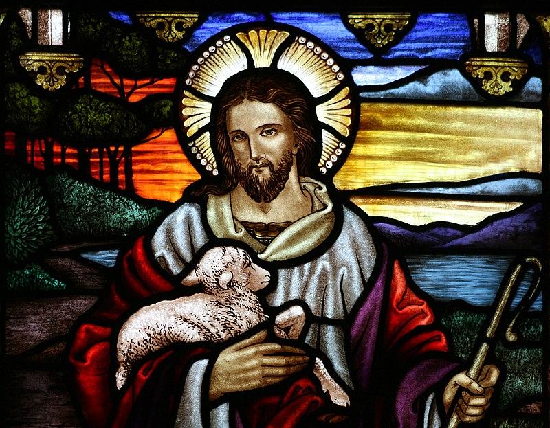 Tranh kính miêu tả Chúa Giêsu, vị Mục tử Nhân lành