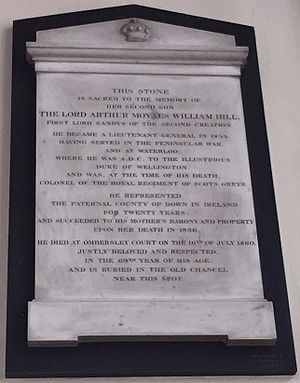 Baron Sandys - Ombersley Church, memorial to Arthur, Lord Sandys (1793–1860)