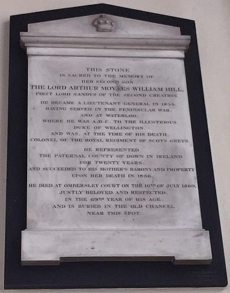 Arthur Hill, 2nd Baron Sandys - Memorial in Ombersley Church