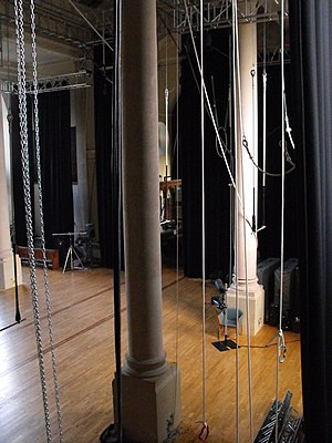 Circomedia - Interior of St Paul's Church, Bristol; the pillars, circus training floor, ropes and trapezes of Circomedia circus school, 2010
