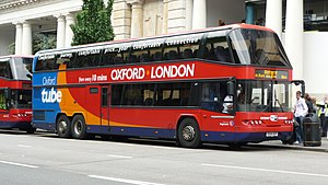 Oxford to London coach route - 2004 Oxford Tube Neoplan Skyliner in June 2009