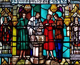 "Godparent - Detail from the ""Baptism Window"" at St. Mary's Episcopal Cathedral in Memphis, Tennessee, showing godparents from the mid-20th century."