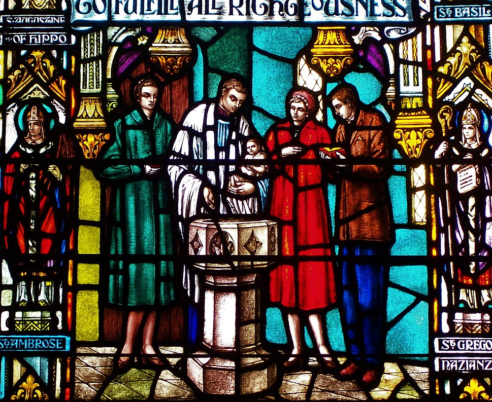Stained glass window depicting Episcopal baptism