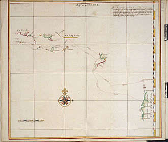 Janszoon voyage of 1605–06 - 1670 copy of the map drawn on board of the Duyfken