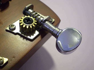 Machine head - Open worm type machine head on a ukulele