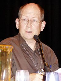 Stephen Baxter at the 63rd World Science Fiction Convention, 2005.