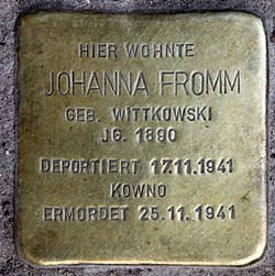Photo of Johanna Fromm brass plaque
