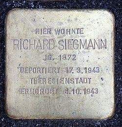Photo of Richard Siegmann brass plaque