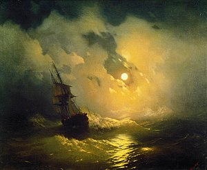 Aivazovsky painting Stormy Sea in Night from 1849