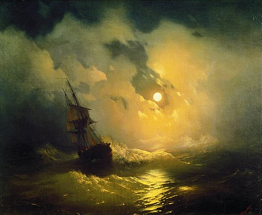 Stormy sea at night